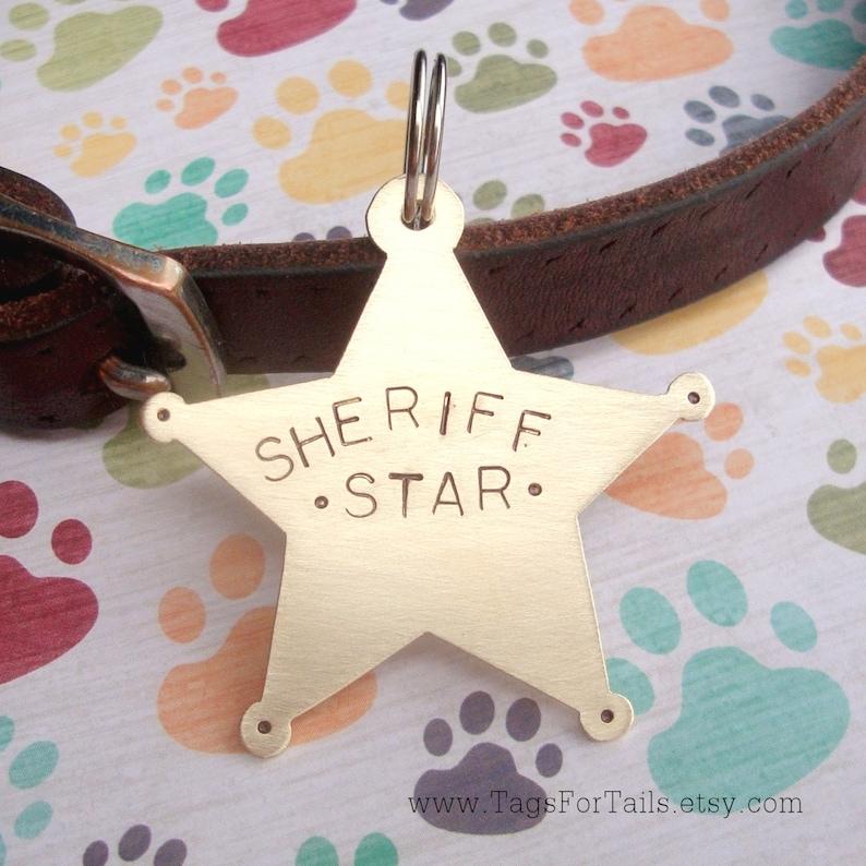 Sheriff Star Pet Tag Custom Dog or Cat Pet ID Tag Handmade