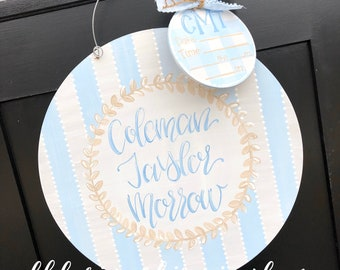 Baby boy Hospital door hanger gingham stripes hand lettering hand painted custom initials name
