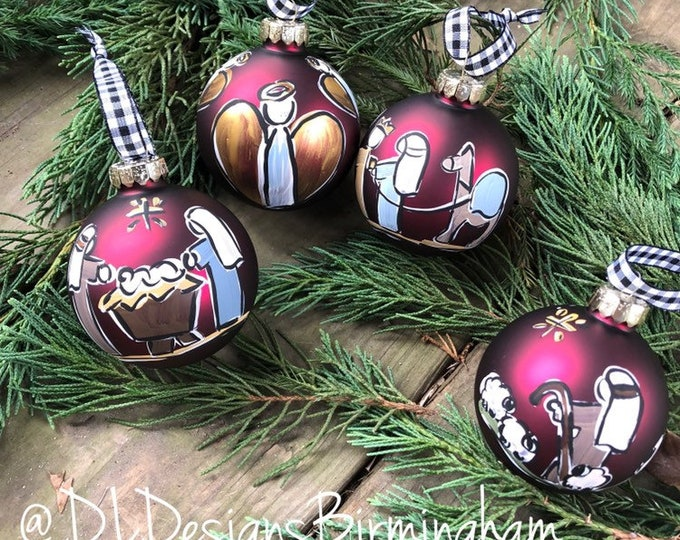 Nativity ornament set glass handpainted dark red glass