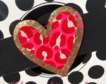 Leopard heart door hanger attachment Valentine's Day, February