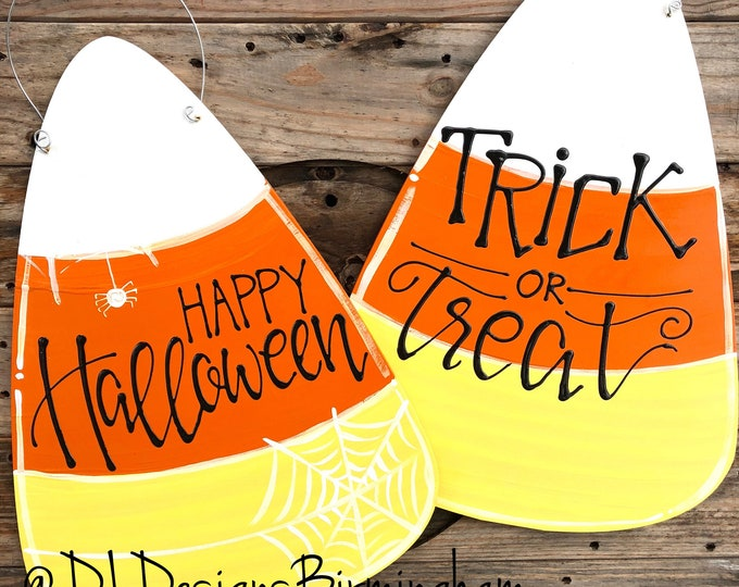 Candy Corn Halloween Door hanger Trick or Treat happy halloween
