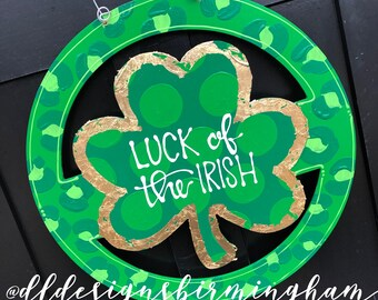 St Patrick's day clover Door Hanger personalized handlettered polka dot with leopard print handlettered shamrock