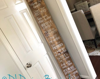 House rules sign hand lettered stained wood bible verse