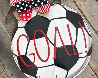 Soccer ball door hanger wood goal personalized hand lettered
