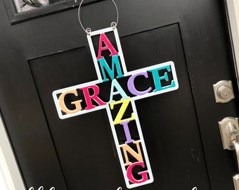 Amazing grace cross door hanger