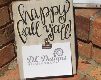 Happy fall y'all picture frame handlettered