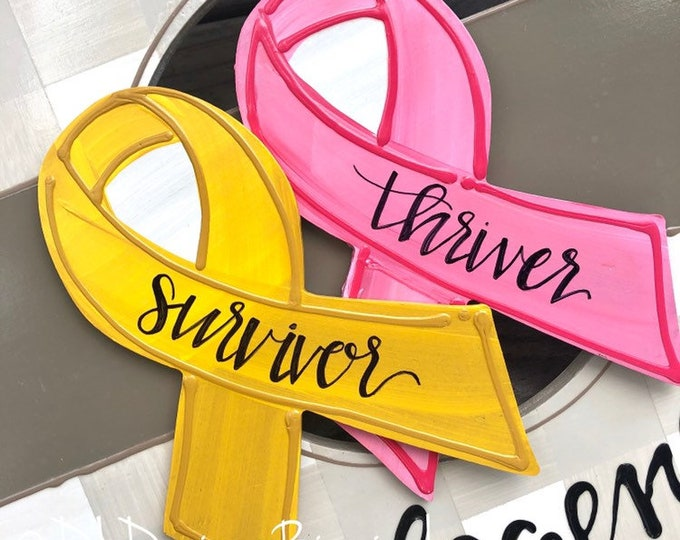 Cancer ribbon attachments for wreath door hanger handpainted breast cancer childhood cancer custom colors