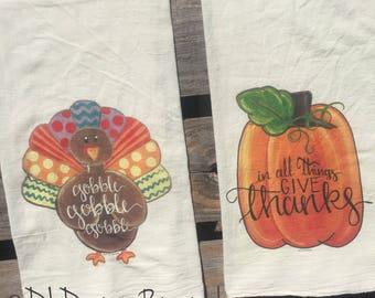 Fall colorful turkey and pumpkin flour sack tea