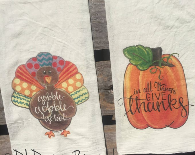 Fall colorful turkey and pumpkin flour sack tea