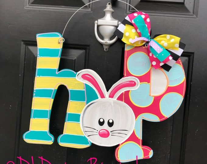 HOP Easter bunny door hanger hand lettered bright