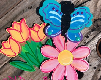Spring door hanger attachment butterfly, pink flower, tulips interchangeable