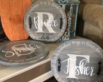 Hand lettered lazy susan or serving tray wedding gift closing gift personalized custom
