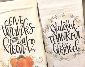 Fall pumpkin and cotton flour sack tea towel give thanks grateful thankful blessed