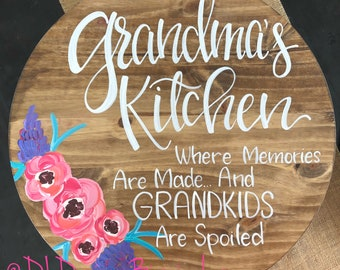 Hand lettered lazy susan Mother's Day grandma hand painted florals stained wood