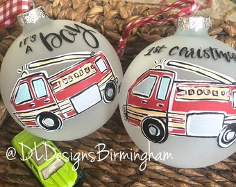firetruck ornament boy handpainted hand lettered its a boy first Christmas