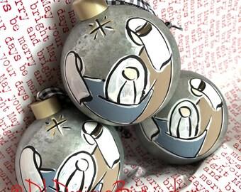 Baby jesus, mary, joseph glass handpainted galvanized metal ornament
