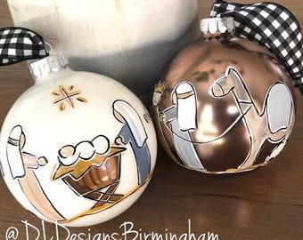 Nativty Christmas ornament with mary joseph baby jesus shepherds wisemen hand painted