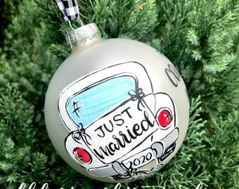 First Christmas as  mr and mrs ornament vintage car just married