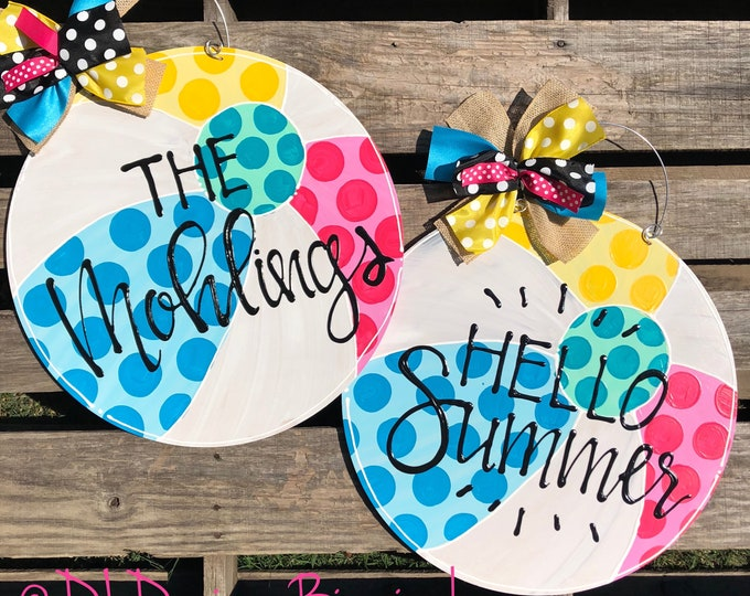 Beach ball hanger with handlettering hello summer or personalized