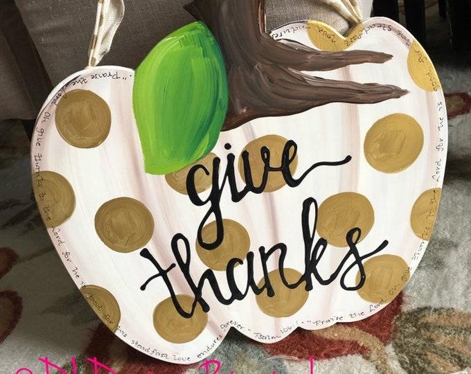 Give thanks polka dot pumpkin door hanger
