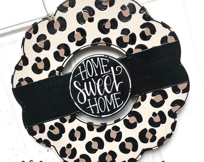 Featured listing image: Leopard print wreath door hanger neutral hand lettering interchangeable