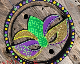 Mardi Gras Door Hanger masquerade mask green purple yellow