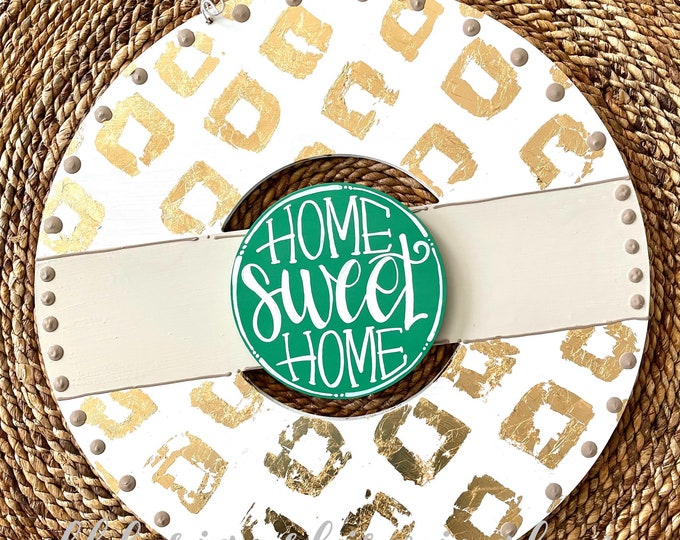 Featured listing image: Gold and white wreath door hanger with diamonds and hand lettering interchangeable home sweet home green
