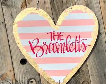 Valentine's Day Heart Door Hanger personalized handlettered