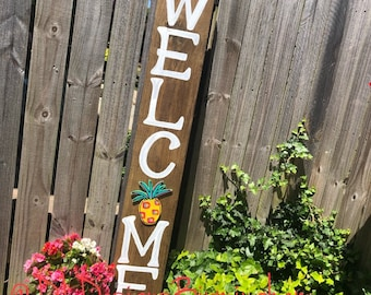 Welcome sign for porch handlettered pineapple  attachment interchangeable