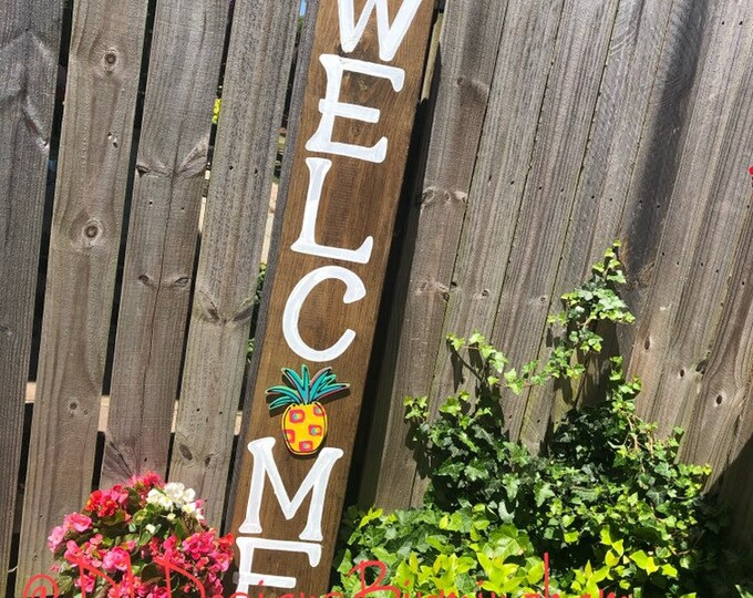 Welcome sign for porch handlettered pineapple watermelon attachment interchangeable