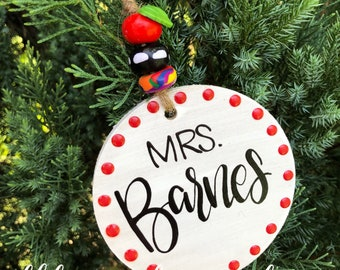Teacher ornament with polymer beads wood personalized hand lettered