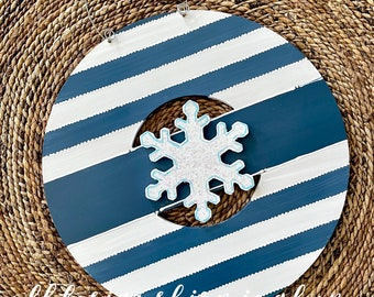 Farmhouse blue  wreath door hanger with stripes and hand lettering interchangeable