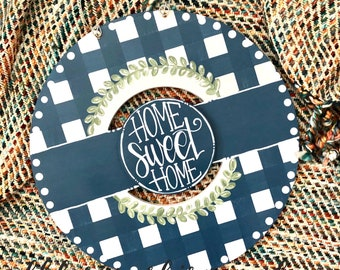 Farmhouse blue  wreath door hanger with gingham and hand lettering interchangeable home sweet home green floral