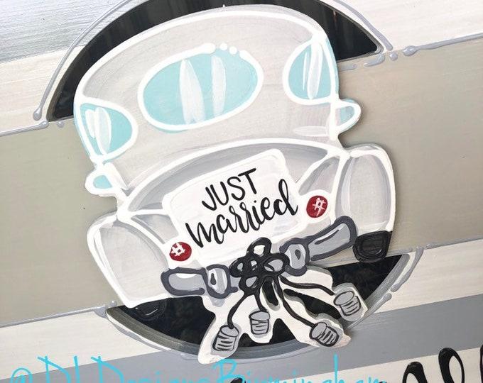 Just married Wedding attachments for wreath door hanger car interchangeable