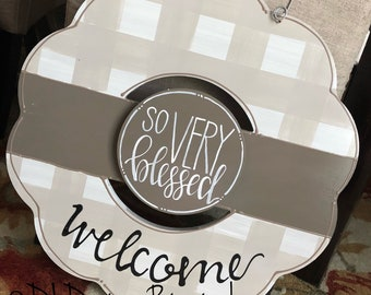 neutral wreath door hanger gingham and hand lettering
