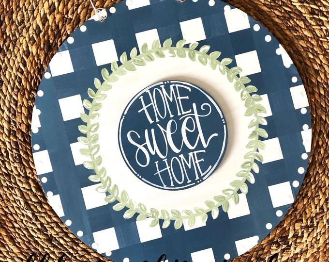 Featured listing image: Farmhouse blue  wreath door hanger with gingham and hand lettering interchangeable home sweet home green floral