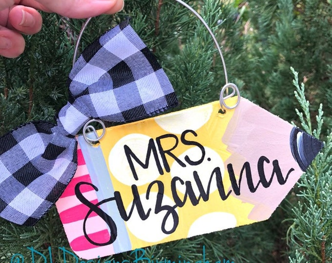 Teacher ornament wood personalized