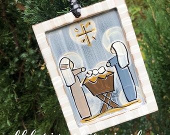 Nativity ornament wood manger baby Jesus Mary Joseph hand painted