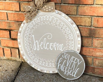 Personalized neutral door hanger hand lettered circle wedding gift last name established date