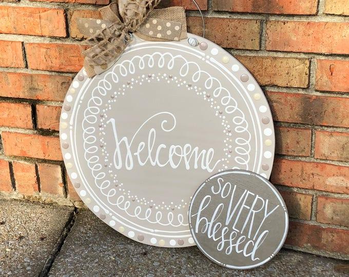 Personalized neutral door hanger hand lettered circle wedding gift last name established date