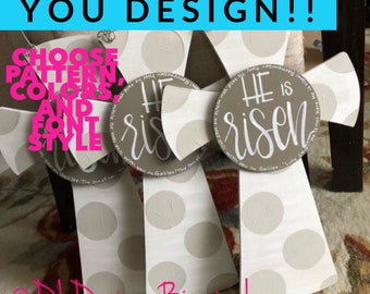 Easter cross door hanger He is Risen with polka dots and hand lettering 9 color options