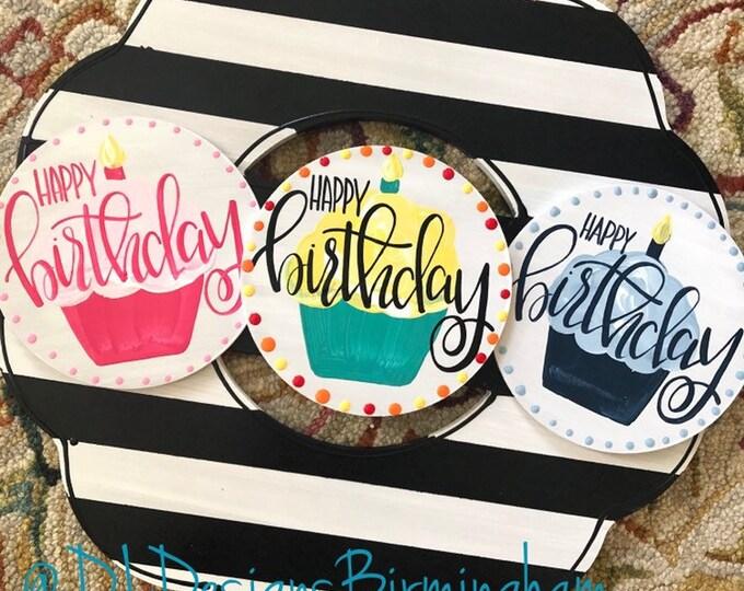 Happy birthday cupcake door hanger attachments interchangeable hand lettered girl boy gender neutral