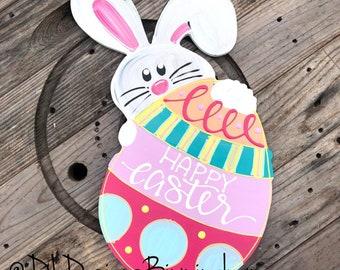 Easter bunny door hanger hand lettered egg happy easter hand painted