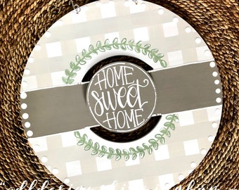 Neutral gingham wreath door hanger with gingham and hand lettering interchangeable home sweet home green floral tan