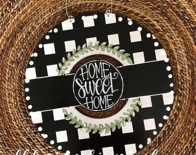 Featured listing image: Black and white gingham wreath door hanger with gingham and hand lettering interchangeable home sweet home green floral