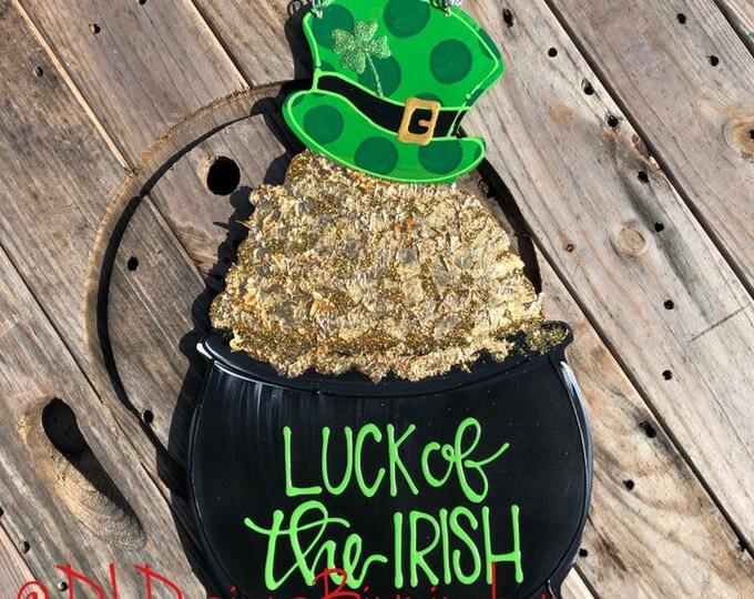 St  Patrick's Day door hanger pot of gold leprechaun hat hand lettered luck of thr irish