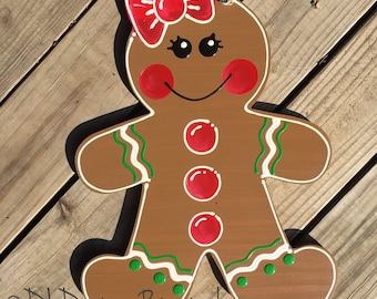 Christmas gingerbread girl or boy door hanger