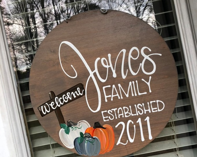Personalized door hanger hand lettered hand painted pumpkin stained wood wedding gift