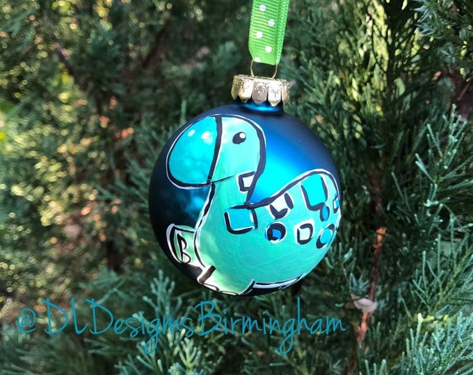 Dinosaur ornament glass handpainted blue little boy