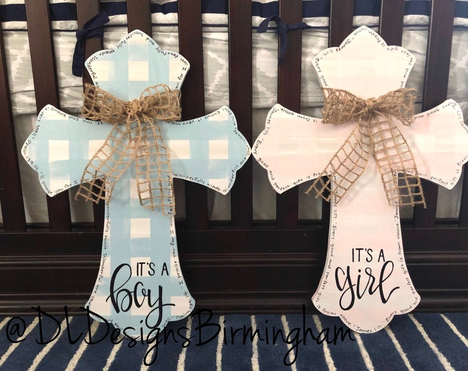 Baby hospital door or nursery cross gingham buffalo plaid hand lettered baby blue baby pink